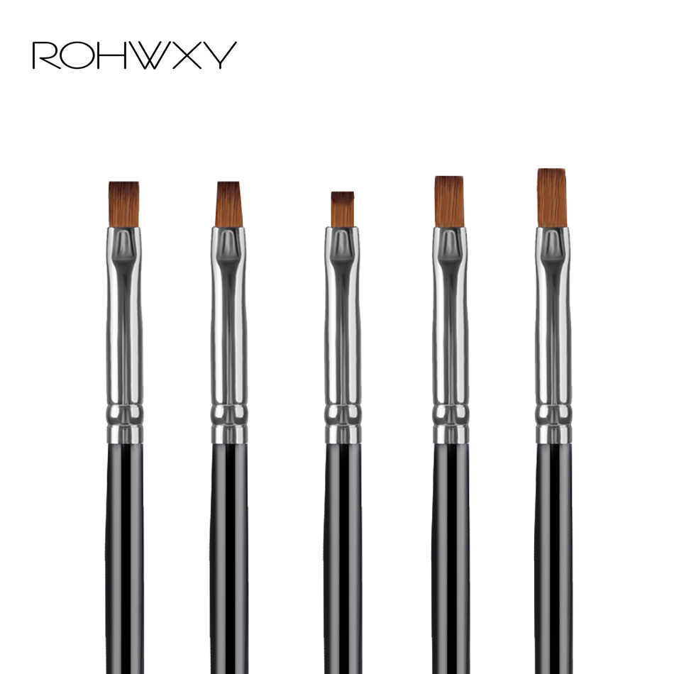 ROHWXY Professional Nail Art Brush Set Line Drawing Painting Pen UV Gel Polish For Designs Acrylic Manicure Brush For Gradient