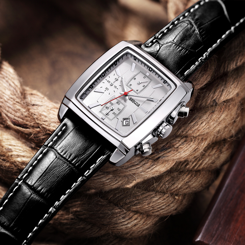 BAOGELA Men's Dress Wrist Watch Casual Classic Men's Ultra-Thin Quartz Analog Date Wrist Watch with Black Leather Strap