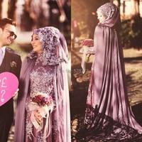 YNQNFS OWD800 Simple Elegant A line Chiffon Cape Style Purple Arabic Hijab Muslim Dress