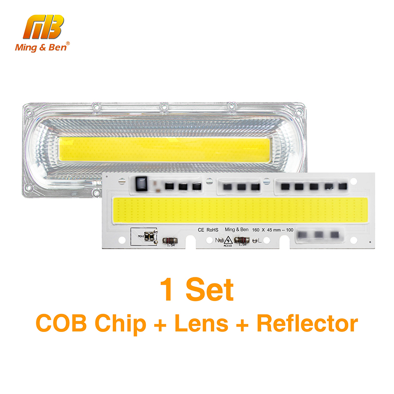 1Set Smart IC LED COB Chips With Lens Reflector Waterproof Silicone Ring 30W 50W 70W 100W 150W AC220V AC110V For DIY Floodlights