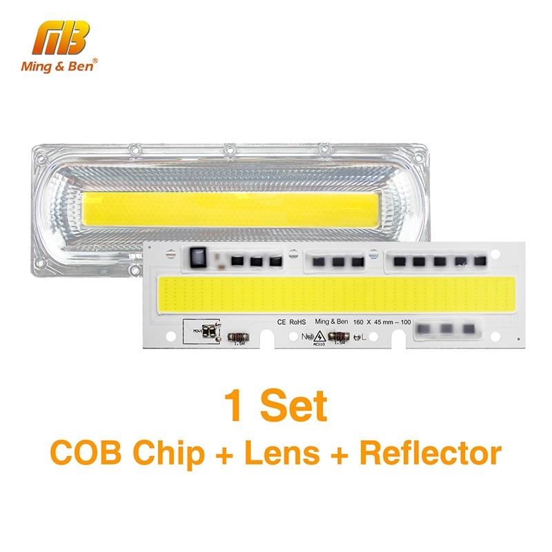 1Set Smart IC LED COB-chip med linsreflektor vattentät silikonring 30W 50W 70W 100W 150W AC220V AC110V för DIY-strålkastare