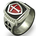 Tamaño 7-15 Acero inoxidable titanio rojo armadura escudo Caballero templario cruzado anillo Medieval Signet Retro Vintage