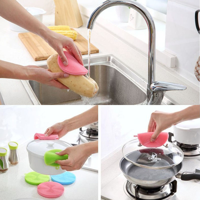 Image 5 - Silicone Cleaning Brush Dishwashing Sponge Multi functional Fruit Vegetable Cutlery Kitchenware Brushes Kitchen Tools-in Sponges & Scouring Pads from Home & Garden