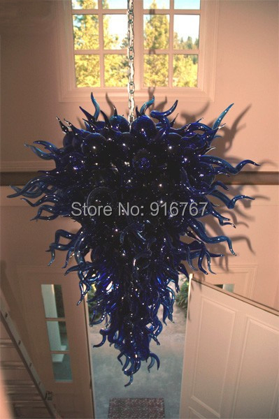 100% Hand Blown Dale Chihuly Lamp Grand Blue Glass Modern Led Chandelier