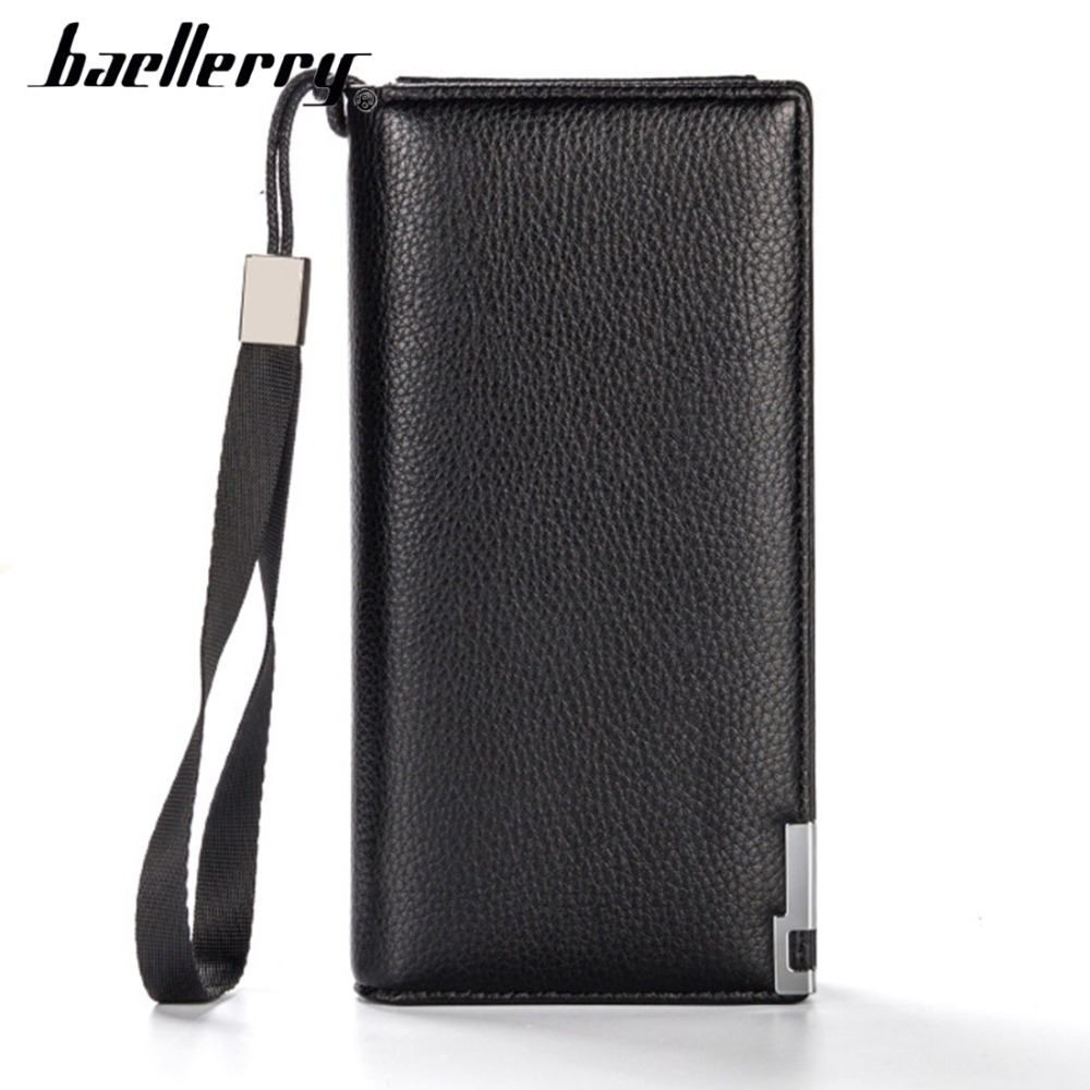 2019 Baellerry Men Wallets Long PU Leather Card Holder Top Quality Zipper Phone Pocket Men Purse Solid Fashion Men Clutch Bag