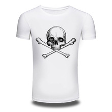 2016 New Fashion Mens Skull Pattern Short Sleeve T-shirt Casual Cotton White T Shirt Summer Style Hip Hop Tops Male Clothing