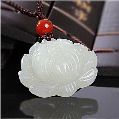 Wholesale Jade lotus White Jade Pendants for Jewelry necklace Womens jewelry Natural Jade Stones Jade lotus