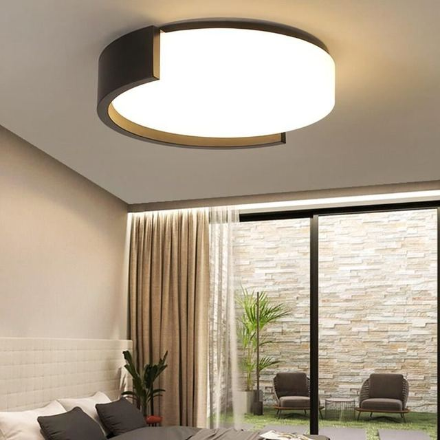 Surface Mounted Modern LED Ceiling Lights For Living Room Bedroom Study White/Black Iron Body Indoor Home Deco Lighting Fixtures