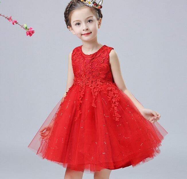 High Quality Red/Pink/White baby girls 1 year old birthday dress sequin baptism christening party wedding dress for infant