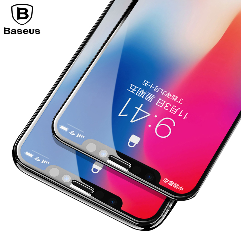 Baseus Screen Protector Tempered Glass For iPhone X 10 4D Surface Full Cover Protection Glass Film For iPhone X Toughened Glass