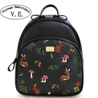 Vintage Embroidery Women Backpack Cartoon Animal Prints Deer Black PU Leather Mushrooms Shoulder Satchels Book Bags