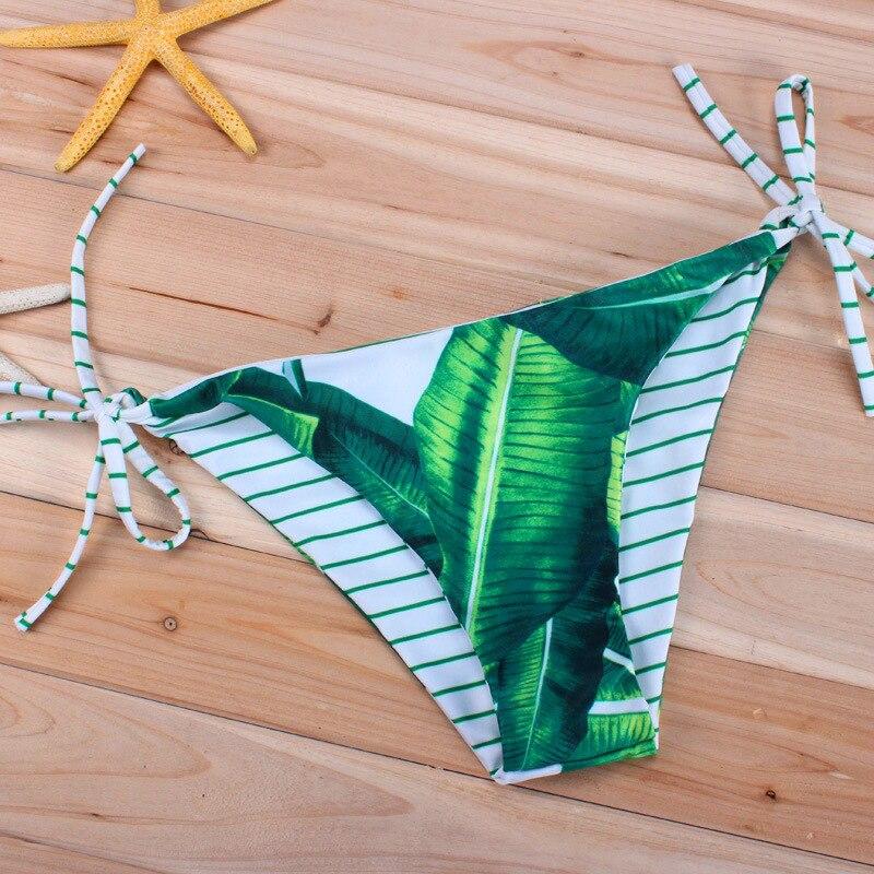 Seksi Yeşil Yapraklar Çizgili Döner Bikini Kadın Mayo 2017 Mayo - Spor Giyim ve Aksesuar - Fotoğraf 4