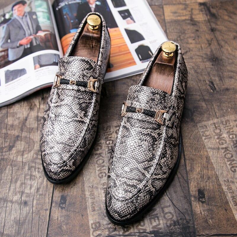 men's snake skin cool platform oxfords patent leather shoes male footwear wedding fashion famous designer brogue shoes for men (4)