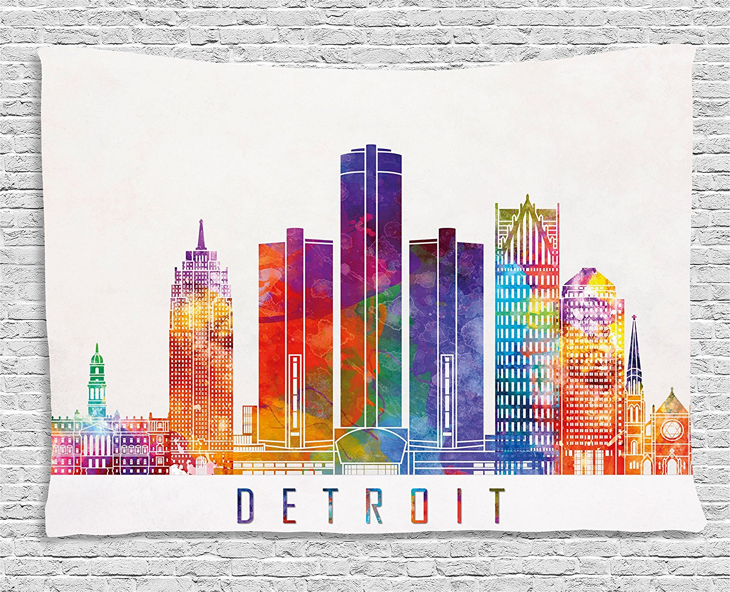 Detroit Decor Tapestry Vibrant Colored Abstract Skyscrapers Modern Architecture Watercolor Landmarks, Wall Hanging for Bedroom