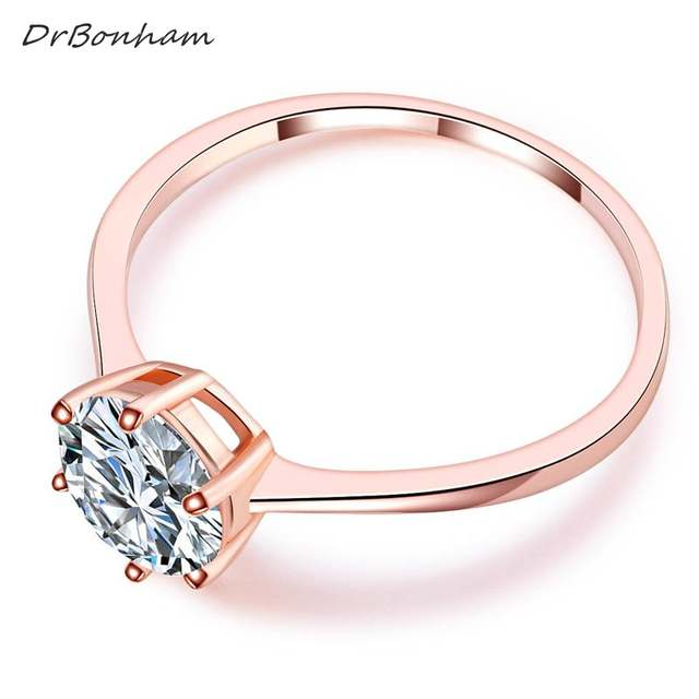 2c56ce54d High quality elegant 1.2ct rose gold color large CZ zircon stone rings 6  prong bridal wedding Ring Women wholesale DR1734-in Rings from Jewelry ...