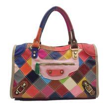 Women HandBag Shoulder Bag Pochette Femme Real Leather Cowhide Splicing Boston Tote Bolsos Mujer Luxury Handbags Ladies Bags