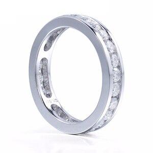Image 2 - DovEggs 14K 585 Белое золото 1,6 карат ctw 2,5 мм Brillianct Lab выросший Муассанит с имитацией бриллианта свадебный браслет для женщин