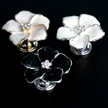 fashion creative flower crystal drawer shoe cabinet Tv cabinet knob pull silver gold white black win cabinet cupboard handle