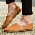 2016 gran tamaño 38-47 zapatos de los hombres casuales resbalón en genuino marca de lujo de los hombres de cuero mocasines masculinos zapatos italianos mens pisos mocasines