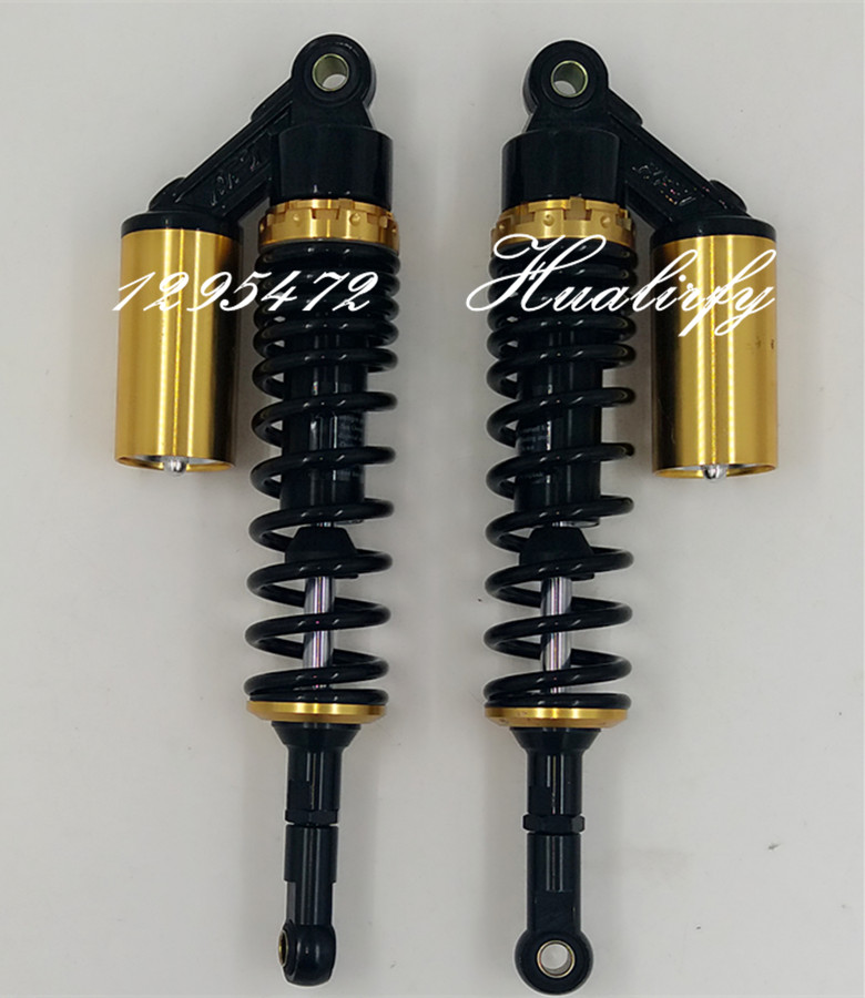 Universal 380mm EYE TO EYE 7mm spring Nitrogen REAR MOTORCYCL SHOCK ABSORBERS FOR Dirt Bike Gokart Quad ATV Scooter Black+gold new 13 5 340mm motorcycle a pair air shocks absorber eye to eye gokart purple