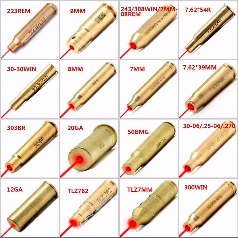 Tactical Red Dot Laser Sight Pointer Bore Sighter 12 Gauge/20GA/223REM/7mm/9mm/30-06/270 Caliber Cartridge Gun Red Laser
