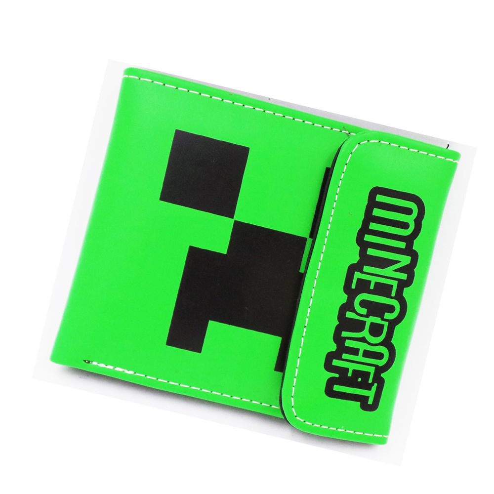 2017 New Minecraft Game Boys Wallet Cartoon Student Purse 2 fold hasp Billfold short wallet coin bag credit cards holder 5 pcs lot cartoon anime wallet wholesale nintendo game pocket monster charizard pikachu wallet poke wallet pokemon go billetera