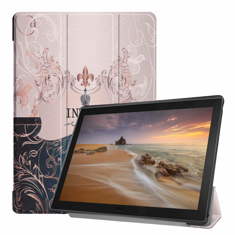 Print Slim Cover For Lenovo Tab E10 X104 Luxury Stand Folio PU Leather Case Tablet 10