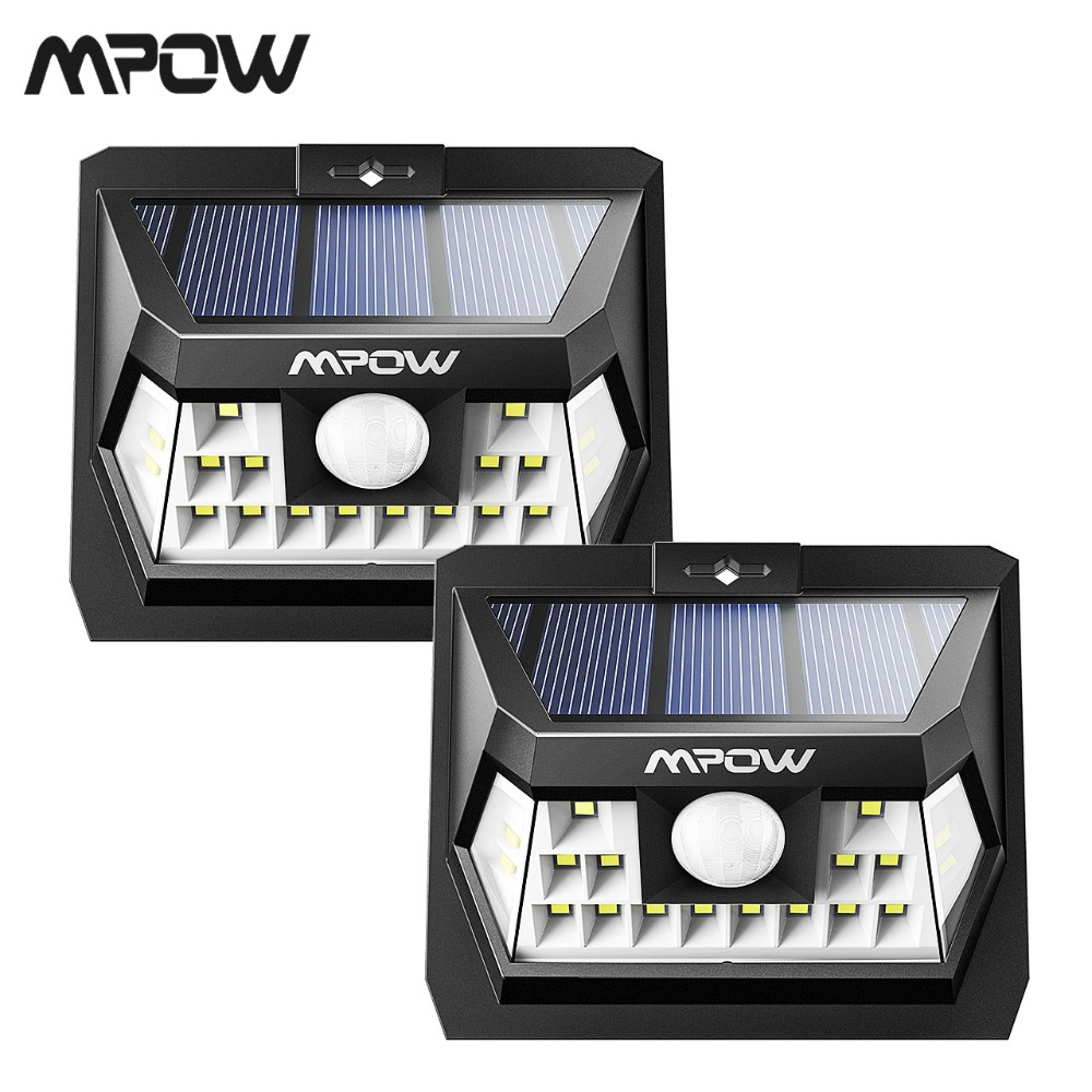 2 Pack Mpow 18 LED Motion Sensor Solar Light Wall Lamp Outdoor Garden High-efficient Solar Panel 120 Sensing Angle Weatherproof2 Pack Mpow 18 LED Motion Sensor Solar Light Wall Lamp Outdoor Garden High-efficient Solar Panel 120 Sensing Angle Weatherproof