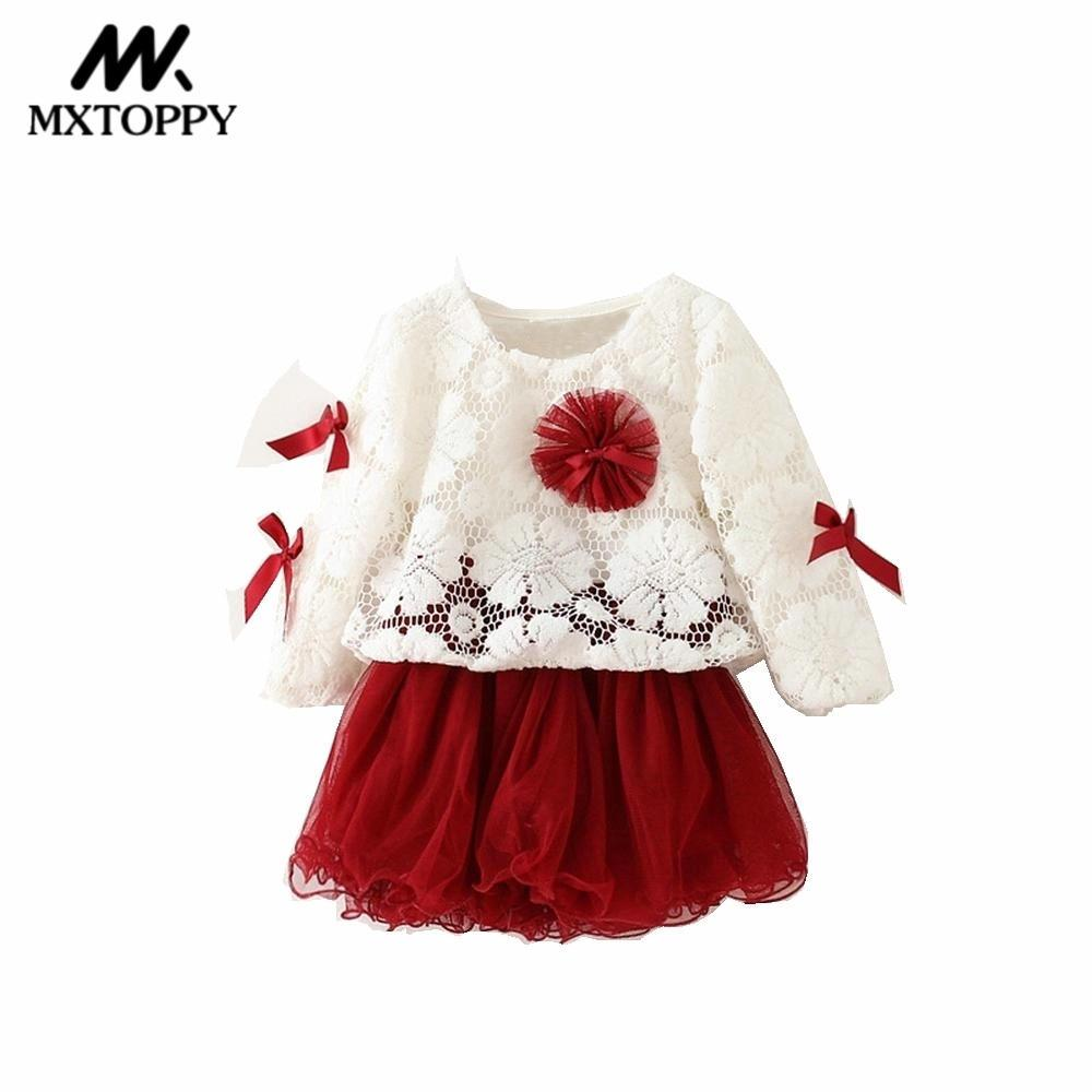 MXTOPPY Baby Girls Clothes New Stitching Bow Baby Dress Long Sleeve Princess Dress For Bebe Girls 0-4Y