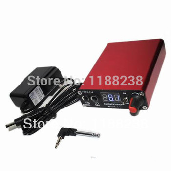 Rechargeable Tattoo Power Supply Digital Display with Wireless foot pedal gun needles Red free shipping