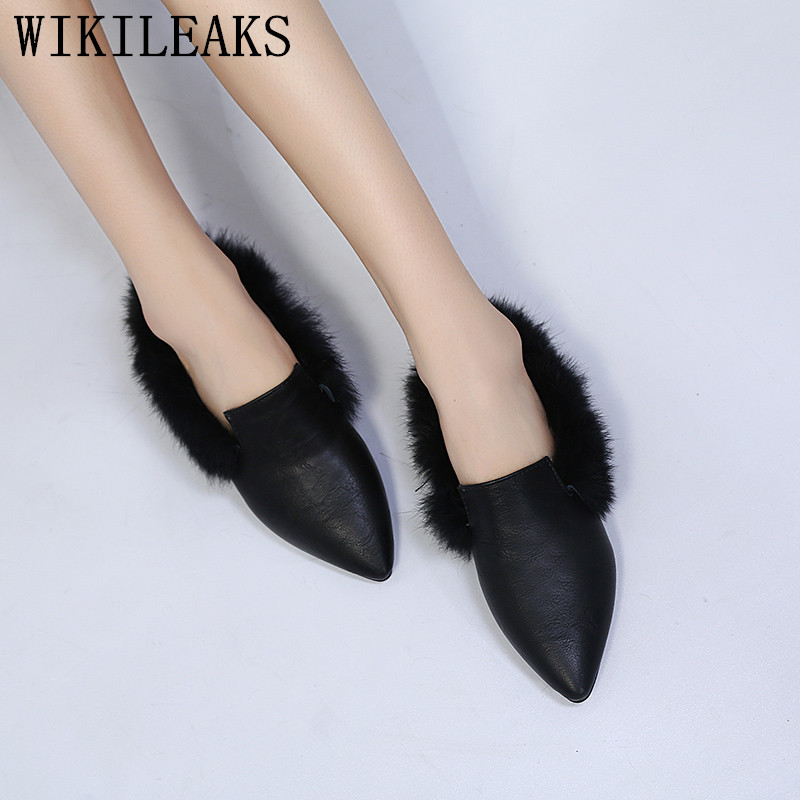 2017 designer women fur mules luxury brand slip on loafers fur flats zapatillas mujer casual slides ladies shoes sapato feminino new designer women fur flats luxury brand slip on loafers zapatillas mujer casual ladies shoes pointed toe sapato feminino black