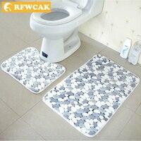 2pcs Set Thicken Coral Fleece Floor Bath Mats Set Non Slip Bathroom Toliet Rugs 40 50