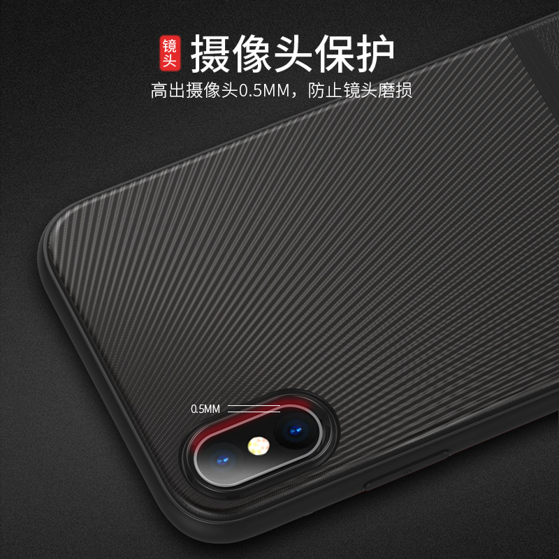 Case For Iphone X 7 8 Anti-knock TPU Fitted Carbon Fiber Thin Back Soft 7 8 Plus Matte Dirt-resistant Leather Pattern Cover