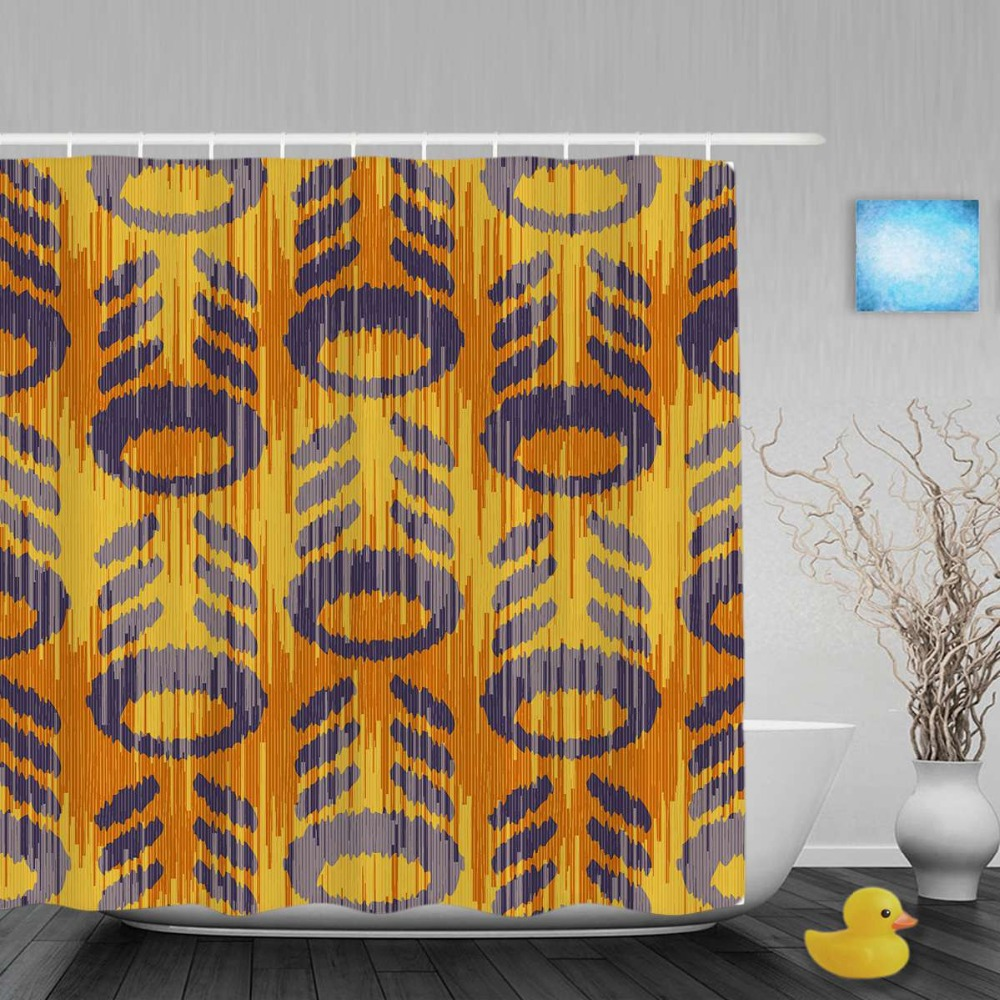 Yellow patterned curtains - Abstract Pattern Decor Bathroom Curtains Beautiful Yellow Home Decor Shower Curtains Waterproof Polyester Fabric With Hooks