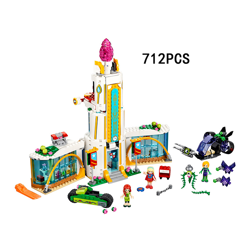 ФОТО Newest DC comics Super hero girl high school  building block supergirl Poison Ivy Lena Luthor bricks compatible lego41232 toys