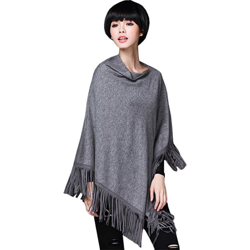 2016 pullover autumn winter new sweater women loose jumper irregular cape fringed shawl coat sweaters clothing vestidos MMY387