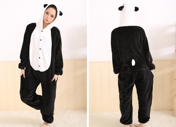 976102af5c0f Flannel fleece Furry Panda Costume Onesies Halloween Animal Cosplay Pajamas One  Piece Adult Woman Man Pyjamas Sleepwear Winter-in Anime Costumes from ...