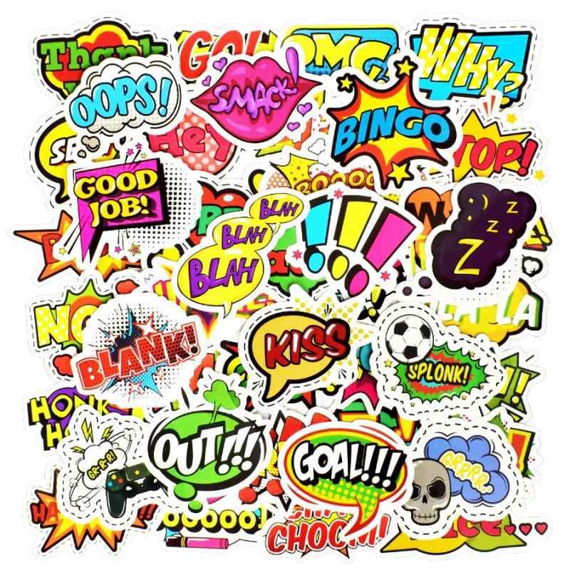 50 шт./лот Поп Стиль текст забавные мультяшные наклейки Buzzword LOL крутые наклейки гаджеты скрапбукинга портфель для ноутбука игрушки для детей