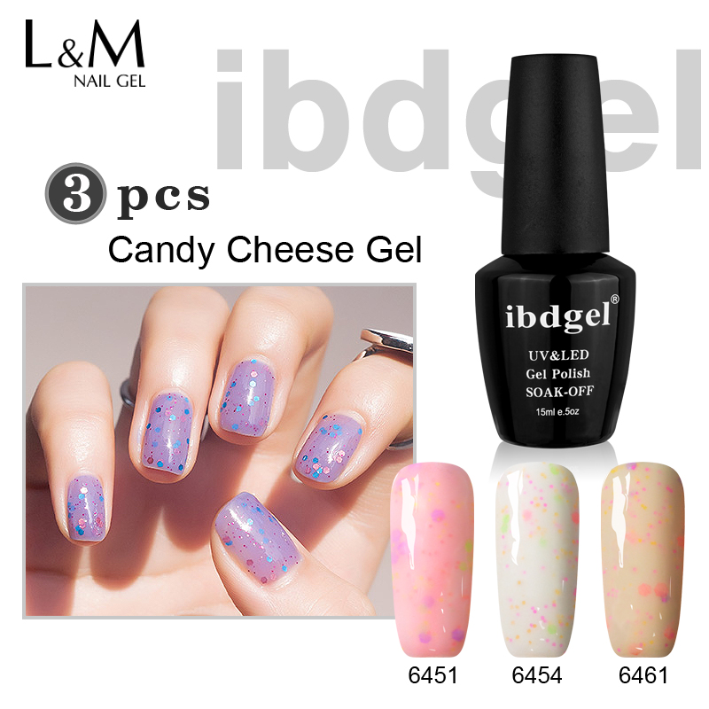 3 st IBDGEL Brand Candy Ost Gel Peel Off UV Polar Set Nail - Nagel konst
