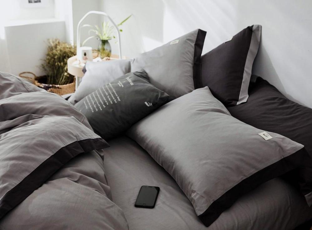 Ensemble de literie Style nordique ensemble de lit luxe coton Twin Queen King Size couleur chaude housse de couette ensemble drap de lit 3 styles - 5