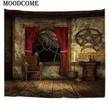 купить Pentagram Tapestry Home Decor Blanket Wall Hanging Vintage Europe Style Printing Window Wall Carpet по цене 872.11 рублей