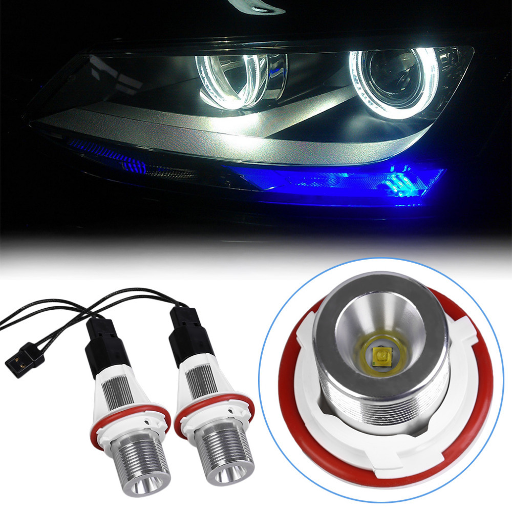 505A 1Pair 10W For BMW E39 LED Bulb Beads Angel Eyes Car Light Lamp Headlight