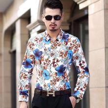 купить Blouse Men Casual Floral Shirts Mens Long sleeve Shirt Mens Clothing Slim fit Floral Hawaiian Blue Red дешево