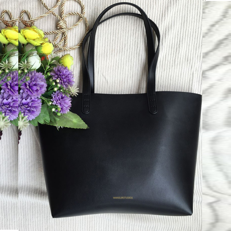 Image 3 - MANSURSTUDIOS women leather  tote bag,mansur gavriel  lady real leather beach bag, ladies hand bags, free shipping-in Top-Handle Bags from Luggage & Bags