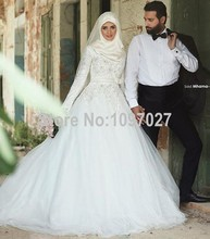 Ball Gown High Neck Hijab Wedding Dresses Soft Tulle Long Sleeves Arabic Muslim Bridal Dress Dubai With Appliqued AS132