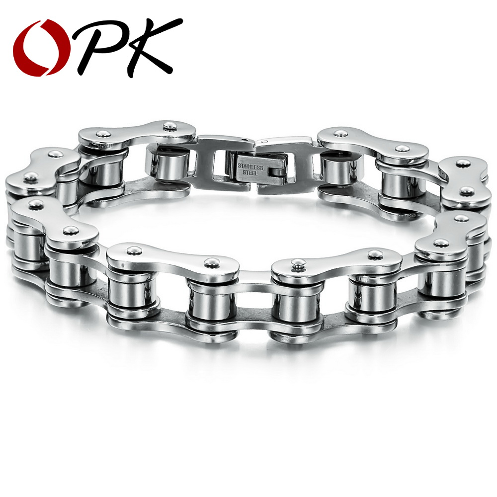 OPK bijoux de mode en gros 12mm de large hommes chaîne Bracelet en acier inoxydable ne se décolore jamais, de haute qualité