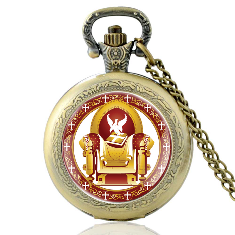 Vintage Bronze Eastern Orthodox Church Quartz Pocket Watch Classic Men Women Christianity Pendant Necklace Gift