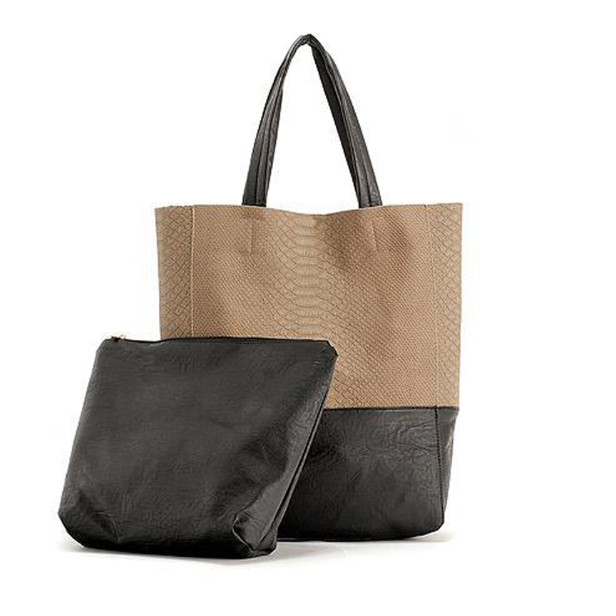 e11242bb947d TWO TONE LARGE CABAS TOTE Womens Vertical PU Faux Leather Top Handle A4  Size Shopper Shopping  Celine ...