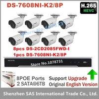 Hikvision DS 7608NI K2 8P 8CH 8 Ports POE 4K NVR 8pcs Hikvision DS 2CD2085FWD I