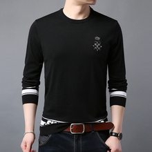 2019 spring mens sweater round neck business casual bottoming long-sleeved fashion boutique print